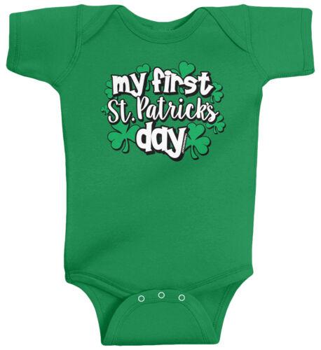 My First St Patricks Day Infant Baby Bodysuit Boys Girls Clover Shamrock Irish