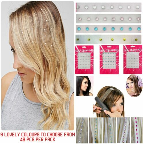Charming Iron In / Straighten In Hair Diamond Crystal Bling Gem Oranments 48 Pcs