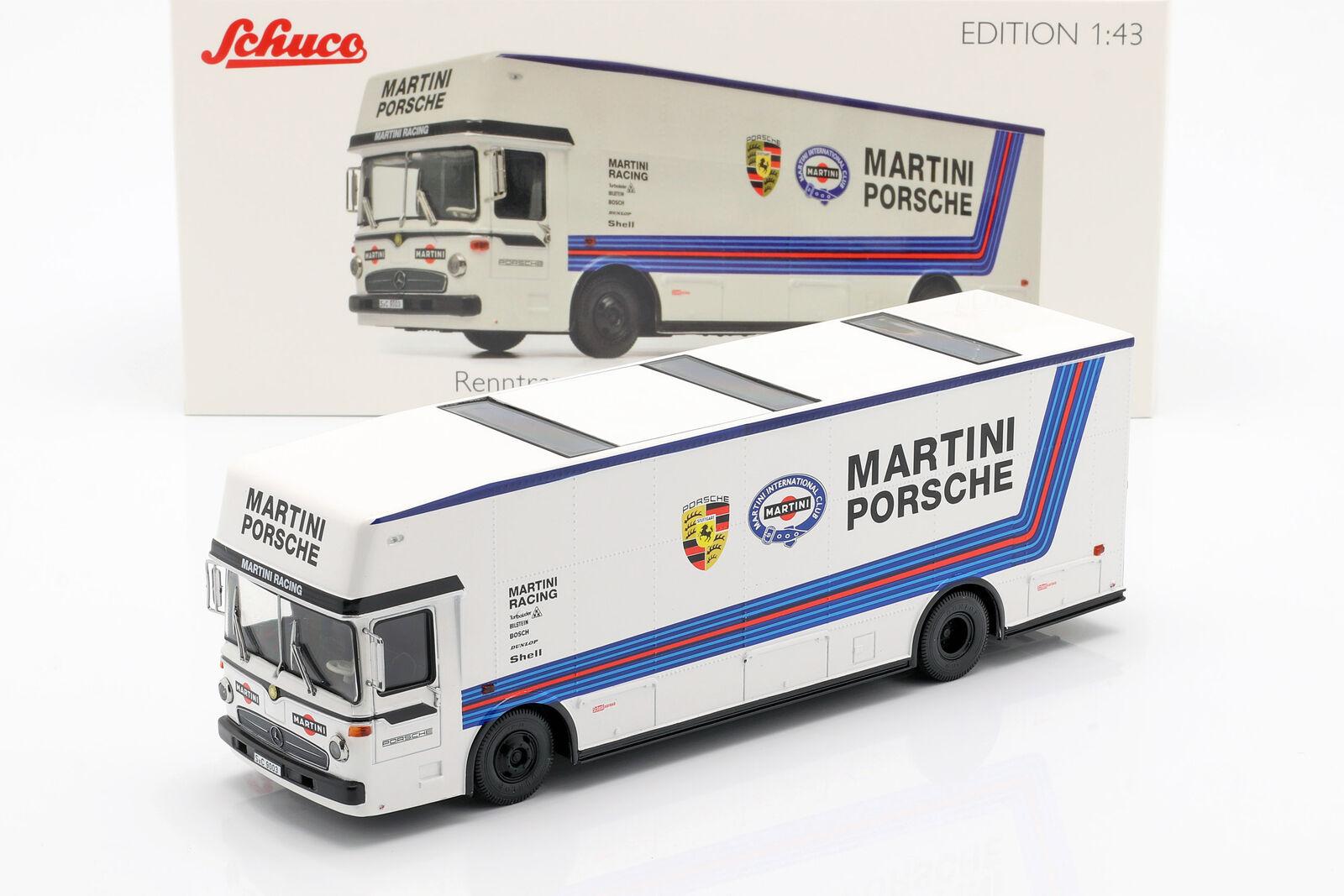 Mercedes-Benz O 317 Renntransporter Porsche Martini Racing weiß 1 43 Schuco