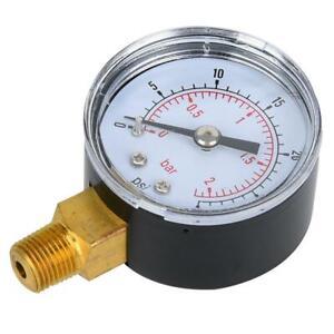 """Hydraulisch Manometer Luftdruckmesser für Wasser Luft Öl Dial 1//8/"""" BSPT 0-60psi"""