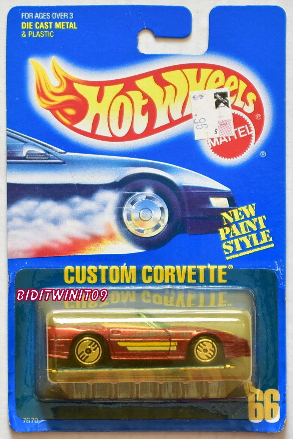 HOT WHEELS 1989 blueE CARD CUSTOM CORVETTE W  PAMPHLET 10 W+