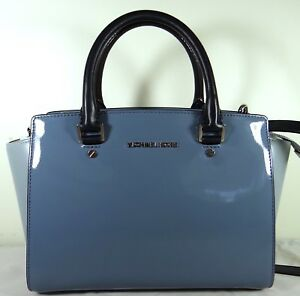 Image Is Loading Michael Kors Selma Medium Denim Patent Leather
