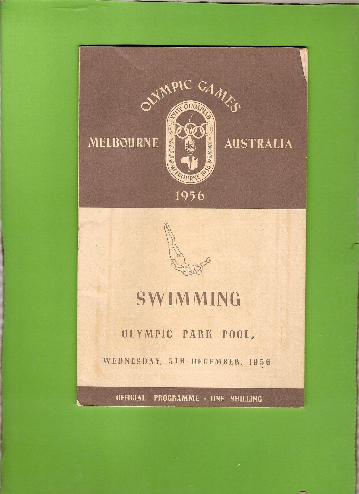 D146. 1956 MELBOURNE OLYMPIC GAMES SWIMMING PROGRAM, 5th December