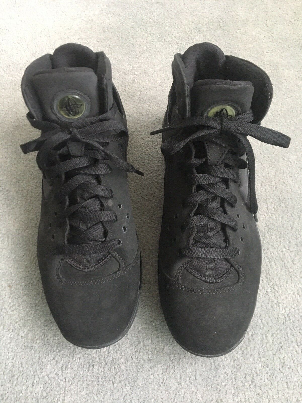 Nike Air Huarache Suede Matt Black Black Black High Top Mens 8 Womens 9 8919a9