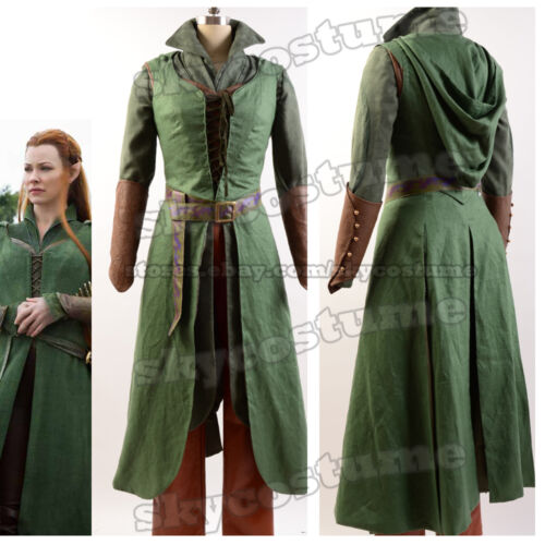 The Hobbit Desolation of Smaug Tauriel Dress Cosplay Attire Uniform Suit Cloak