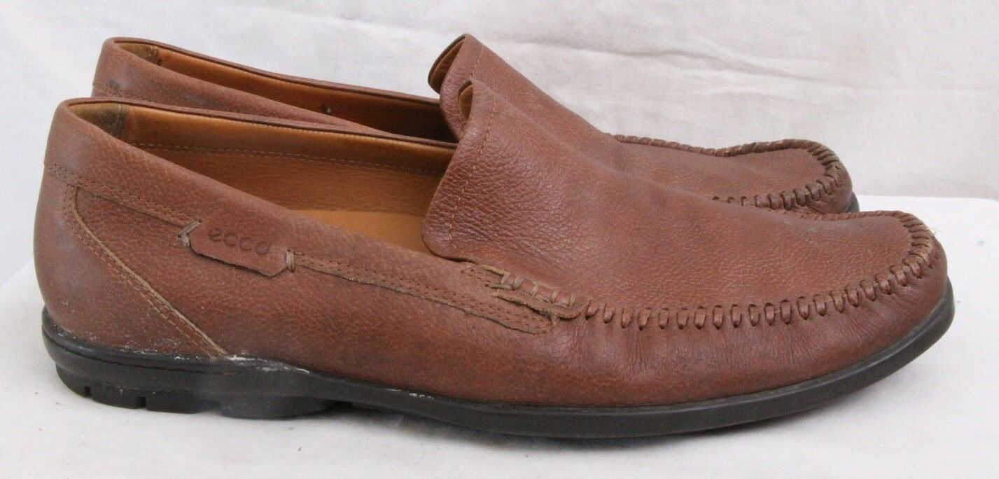 Ecco Brown Slip On Stitched Driving Moccasin Loafer Men's Euro 45 (U.S. 12)