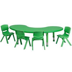 Half moon green plastic preschool activity table set w 4 chair ebay