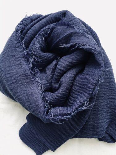 Ladies Maxi Long Crinkle Frayed Edges Crimp Mix Cotton Scarf Hijab Shawl Wrap