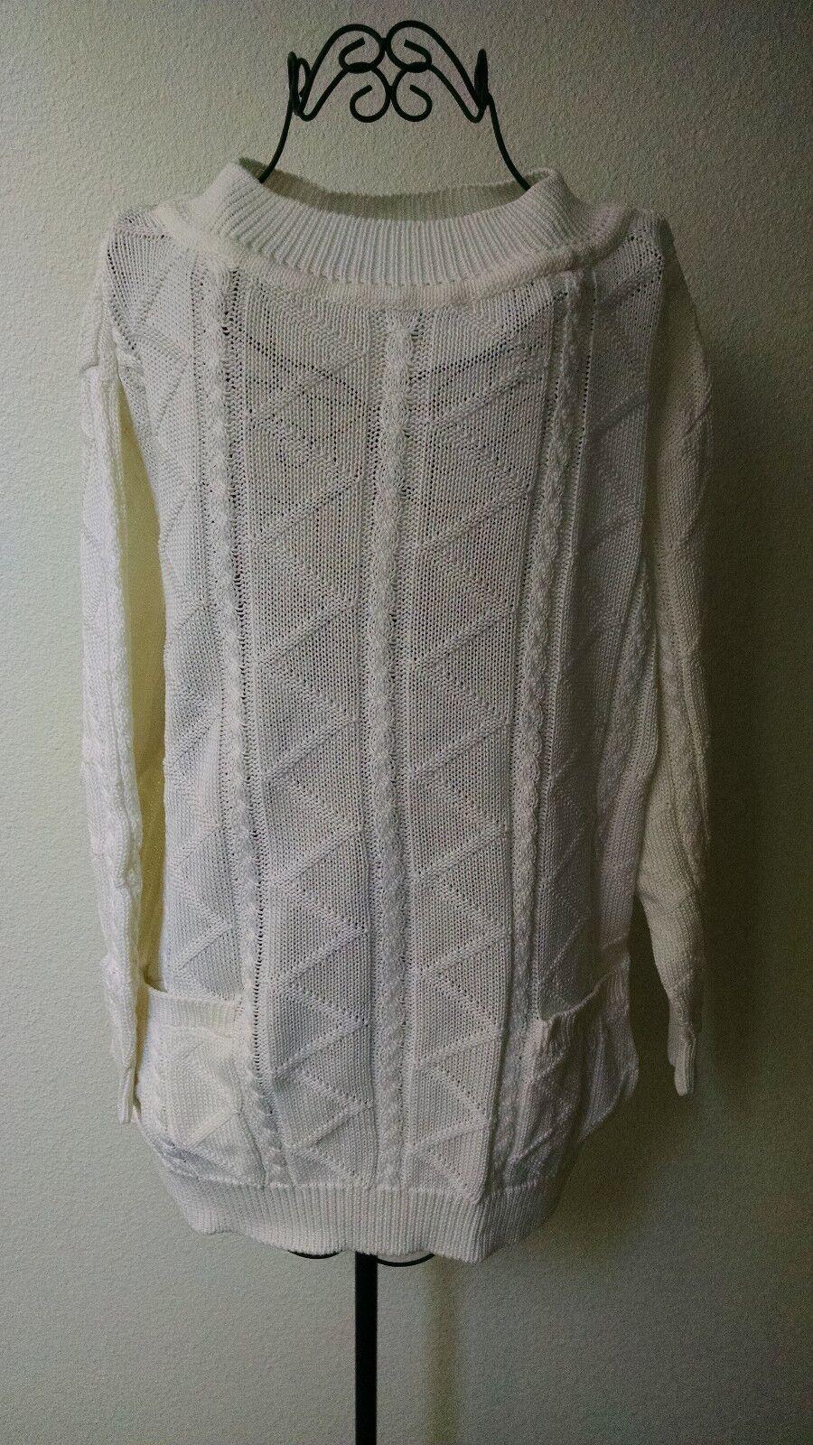Adrienne Vittadini White Cotton Sweater, Size M, Item