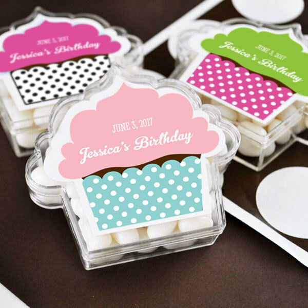 96 Personalized Acrylic Cupcake Wedding Favor Boxes