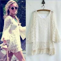 Vintage Boho Hippie Gypsy Festival Fringe Lace Shirt Dress #L Top Blouse +Vest
