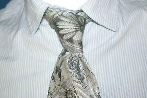 CERRUTI-Superbe-cravate-grise-en-soie-silk-tie-corbata-krawatte
