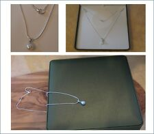 New white real fresh pearl pendant necklace with silver chain in green gift box