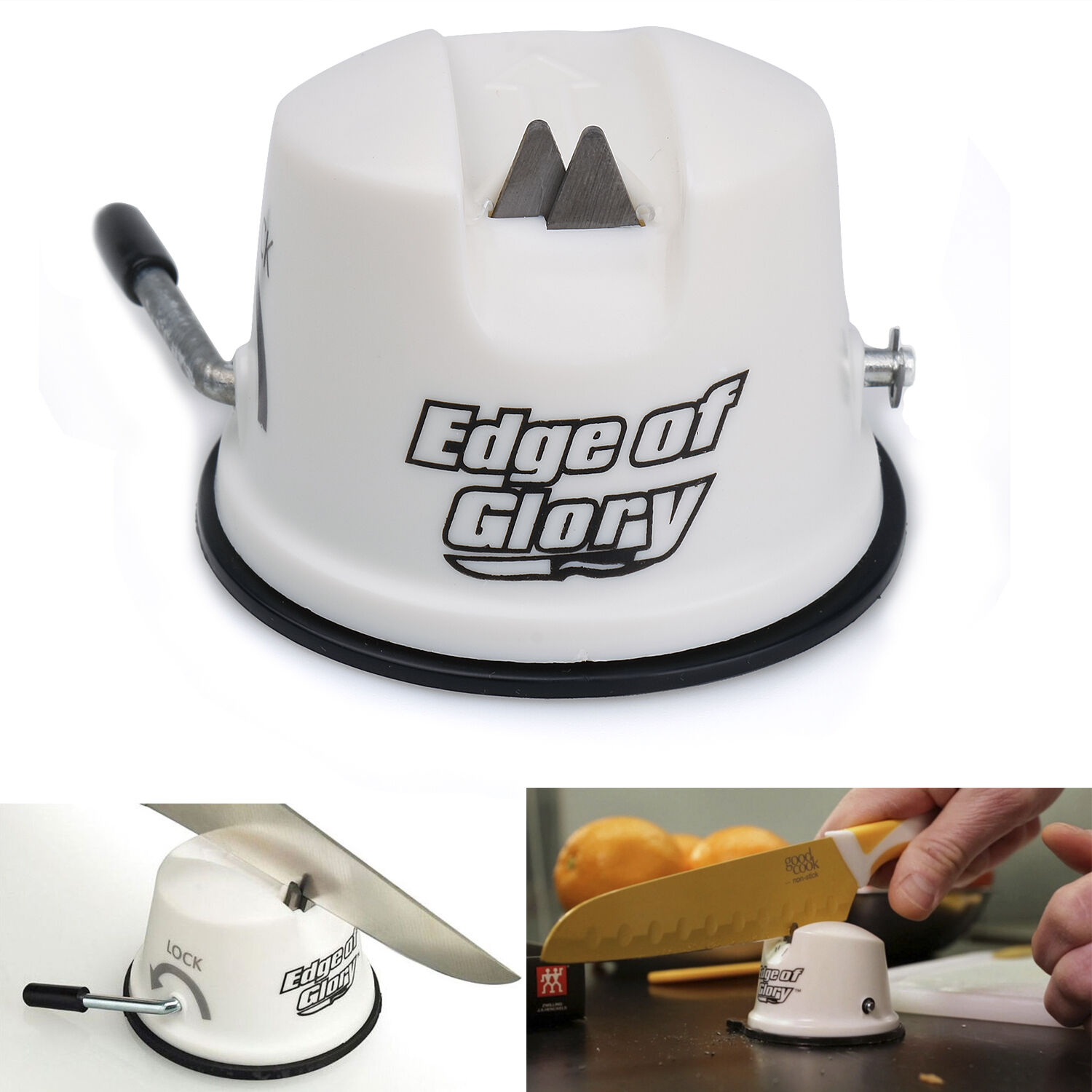 Edge of Glory Sharpener Cutter Tungsten Carbide Blade Kitchen Tool Suction