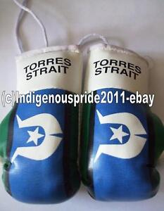 Torres Strait Flag/Toress Strait mini boxing gloves for your car mirror.Hurry