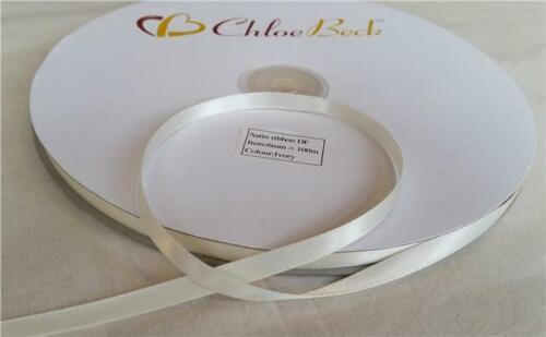 Double Sided Quality Satin Ribbon Lilac Purple Craft Wedding 6mm 100m Roll 2m