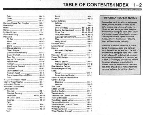 research.unir.net 1997 Ford Thunderbird Mercury Cougar Electrical ...