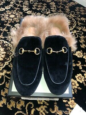 Gucci Princetown Velvet Mule with Fur