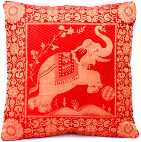 Rouge soie kisssenbezugZierkissen référenceCoussins du canapé référence d/'Inde 40cmx40cm