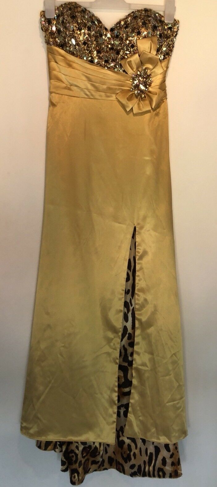 SIZE 10 ALCYE gold LEOPARD PRINT MAXI DRESS PARTY TOWIE FESTIVAL CLUBBING PROM