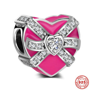 New-Fashion-925-Sterling-Silver-Pink-Heart-Charms-Beads-With-Cubic-Zircon