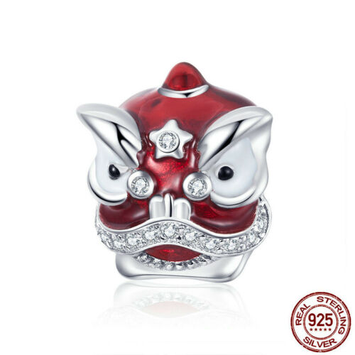 925 Sterling Silver Red Enamel China Traditional Lion Dance Charm Fit Bracelet