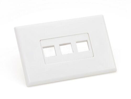 screwless 3 port white Keystone wall plate