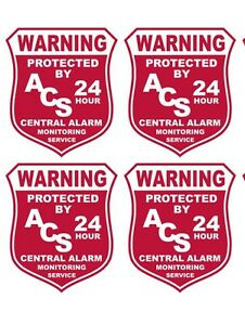 LOT OF 4 Burglar Alarm Security Outdoor Vinyl Window Decal Sticker Signs