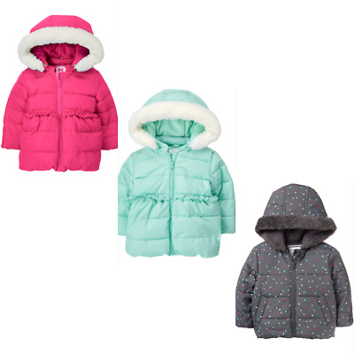 Gymboree Ready Jet Go Puffer Coat 12-18 2T 3T 5T Winter Aqua Pink Polka Dot