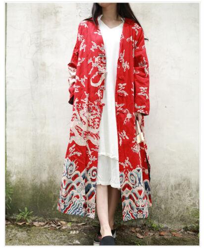 18 Women Cardigan Trench Jacket Chinese Folk Vintage Printing Dragon Handmade z1