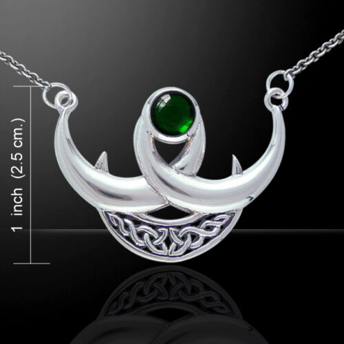 Crescent Triple Moon .925 Sterling Silver Necklace Choice of Gem Peter Stone