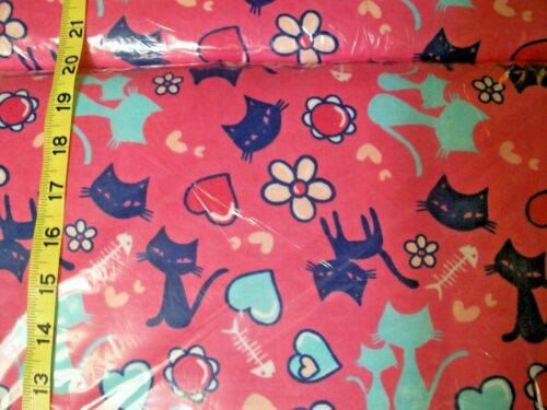 pick size #086 New Flannel Fabric BTY; 2Yds; />yd Fish Bone Cat pink blue heart