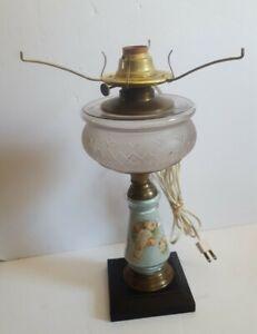 Vintage Oil Kerosene Table Lamp Converted Glass Metal