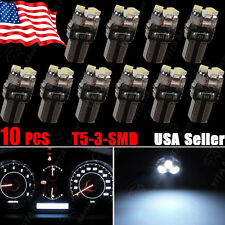 10PCS Super Bright White T5 3-SMD LED Bulbs Dashboard Gauge Side Indicator Light