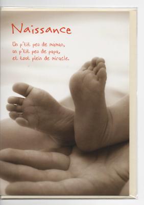 Carte Naissance.petit Texte.motif Pieds Bébé Et Mains Adulte.13x17 Cm.