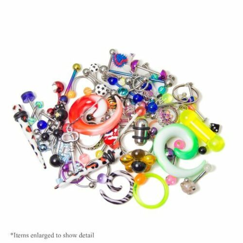 50 or 100 Pack Nose Nipple Tongue Random Body Jewelry Belly Ear 10 30