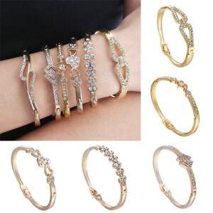 NEW-Gold-Crystal-Rhinestone-Love-Charm-Bracelet-Bangle-Cuff-Women-Jewelry-Gifts
