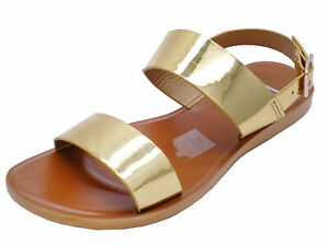 LADIES-FLAT-OPEN-TOE-GOLD-HOLIDAY-WALKING-SUMMER-CASUAL-SANDALS-SHOES-SIZES-3-8