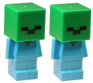 Lego Minecraft 2x Zombie Minifigure  NEW!!!