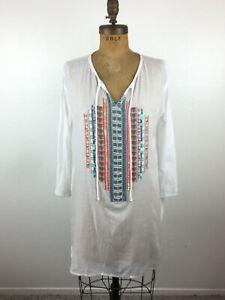 e6426ca0c1 BOOHOO Rosie Geo Bead White Beach Beaded Tunic Dress Swim Cover Up ...