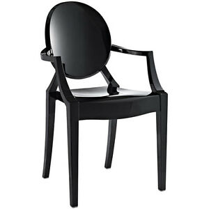Image Is Loading Modern Ghost Chair With Arms In Black Polycarbonate