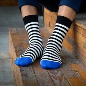 Mens-Socks-Lot-Cotton-Warm-Classic-Black-and-White-Striped-Casual-Dress-Socks
