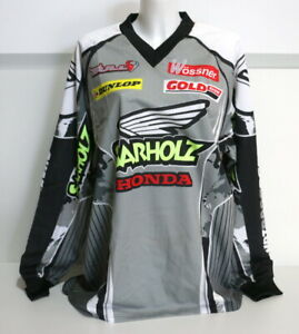 VINTAGE-Cross-Maglia-Jersey-Camicia-Conducente-034-sarholz-HONDA-034-034-Andy-Boller-034-L-NUOVO-NEW
