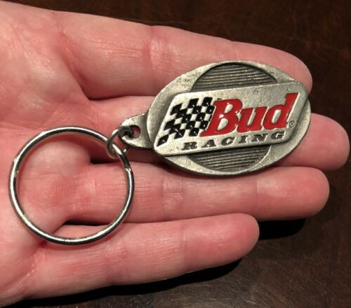 1 Rare Vintage Budweiser Bud Light Keychain  Key Chain  Anheuser Busch Racing