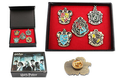 Harry Potter Hogwarts House Metal Brooch Pin Set 5 pcs In Wooden Box + PENDANT