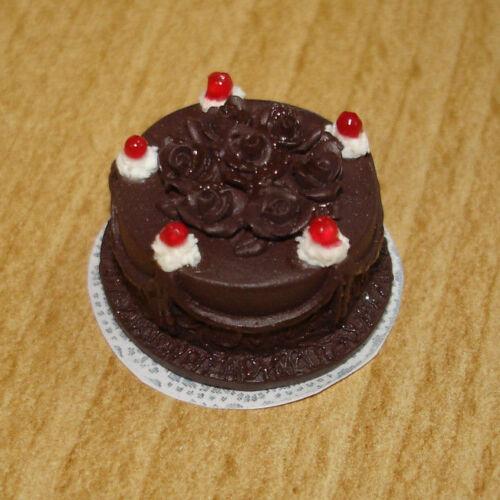 Chocolat gâteau avec cerises #3637 poupée 1:12