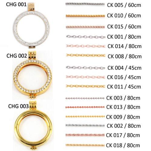 Gold Rosé Coinhalter und Ketten für Coins 33mm Moneda Kompatibel Farbe Silber