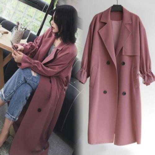 Womens Trench Coat Windbreaker Long Casual Loose Korean Autumn Outwear Jacket sz