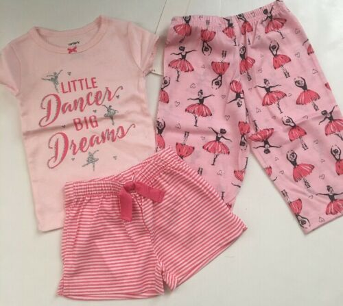 Carters Girl Ballerina 3 Piece Pajamas Shorts Pants Size 12 18 24 Months Pink
