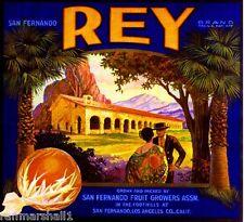 San Fernando Los Angeles Top Luck Horse Orange Citrus Fruit Crate Label Print